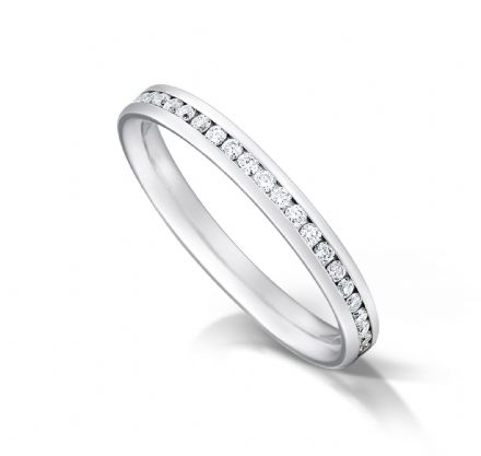 Channel set court eternity/wedding ring, platinum. 2.7mm x 1.7mm. 1/3 coverage